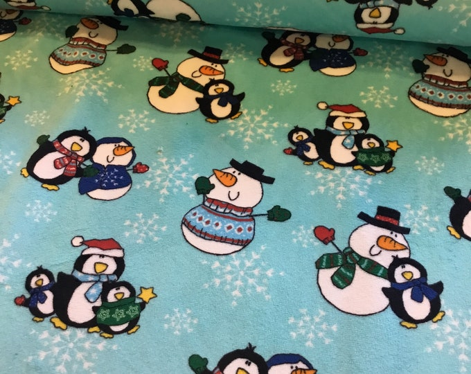 Plush Minky snowman/penguins holiday fabric, Shannon's fabric, sold by the yard, ready to ship.