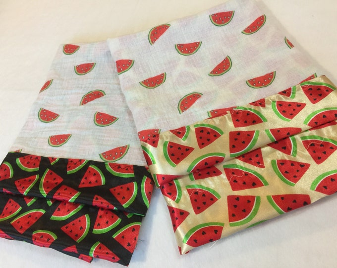 Watermelon muslin silky lovey, double gauze muslin front, backed and edged with watermelon silky fabic 20x20