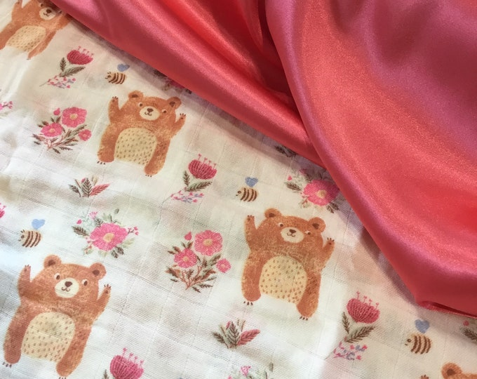 Double gauze muslin, backed and edged with coordinating silky fabric