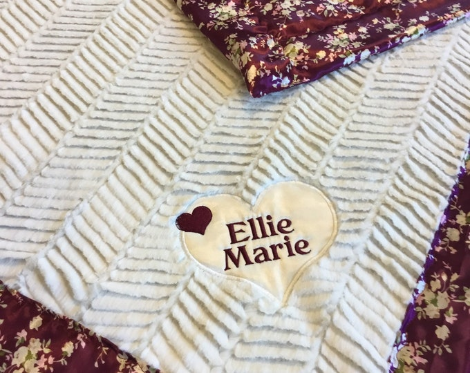 Custom lap blanket 30x40, cozy minky front, backed and edged with floral silky satin