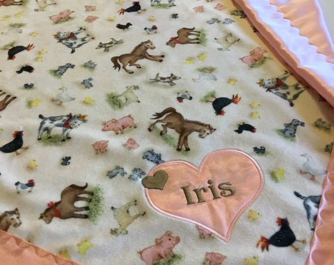 Adorable farm animal baby blanket, Minky Front ~ backed and edged with coordinating Silky ( measures 30x40)