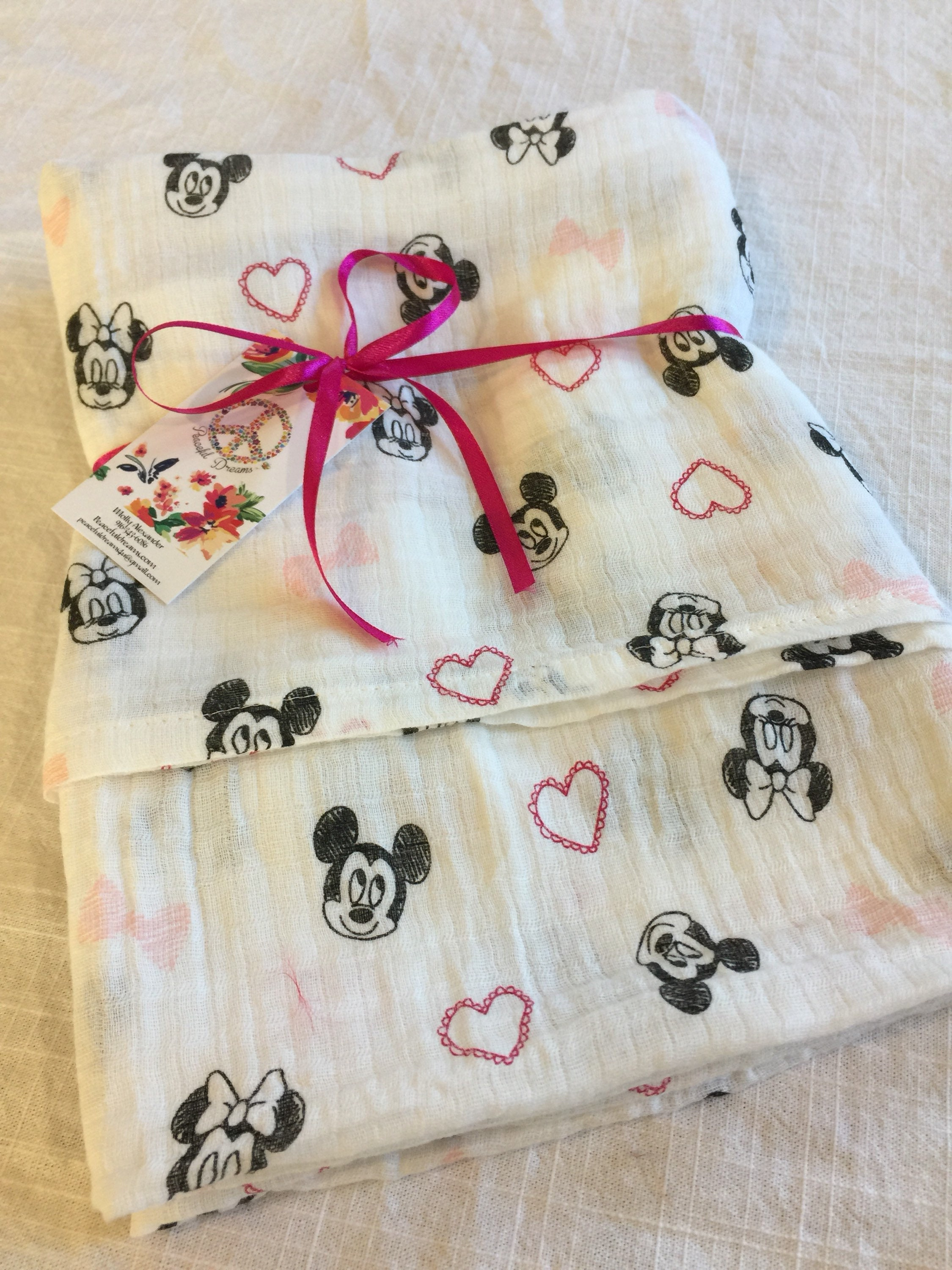 Double Gauze Swaddle Muslin Swaddle Minnie Mouse Mickey