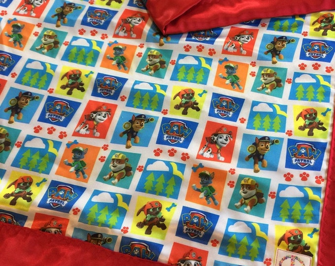 Custom listing 40x50 silky blanket. Paw patrol silky front backed and edged with red silky