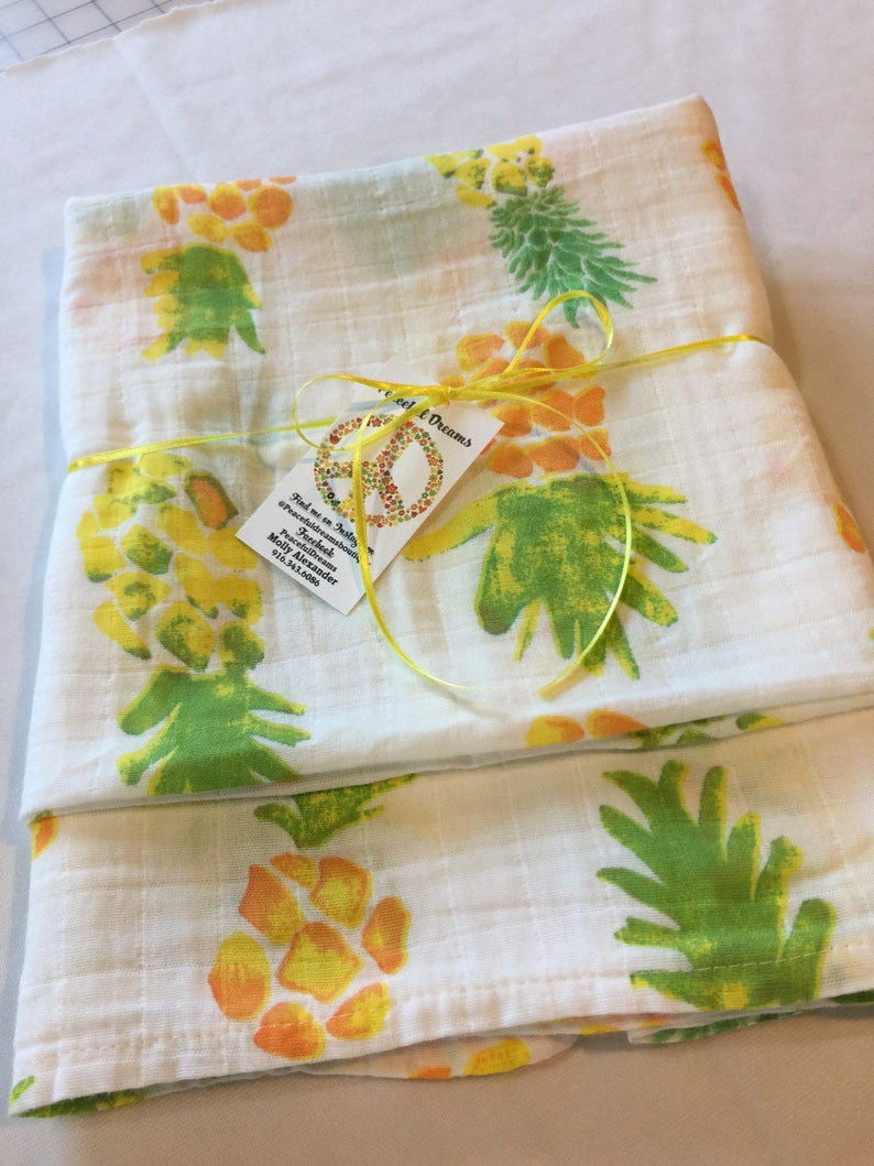 Adorable Pineapple Baby swaddle receiving blanket Double image 0