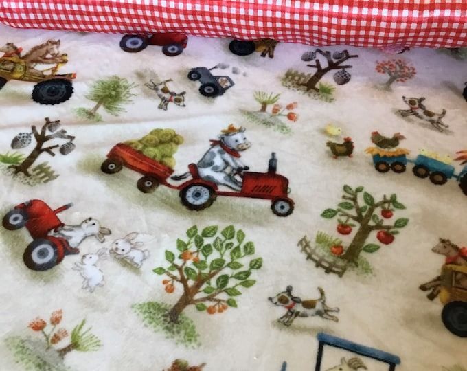 Plush farm silky baby blanket, cozy cuddle farm front, backed and edged with coordinating silky fabric, (Measures 30x40)