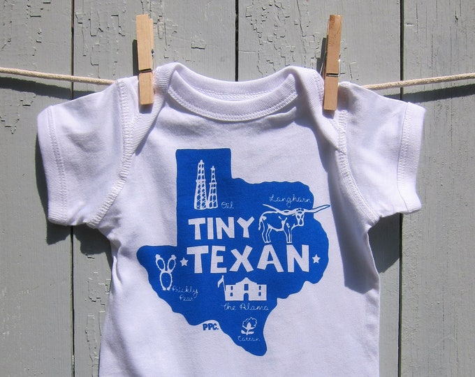 The Tiny Texan - Royal Blue on White, Baby Romper/Onesey