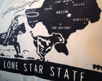 Throw Pillow - Free Shipping. Greetings from the Lone Star State, Printed and Sewn by Hand