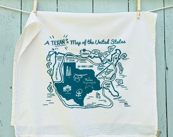 Tea Towel, A Texan's Map of the US, Hand Printed, Retro Style