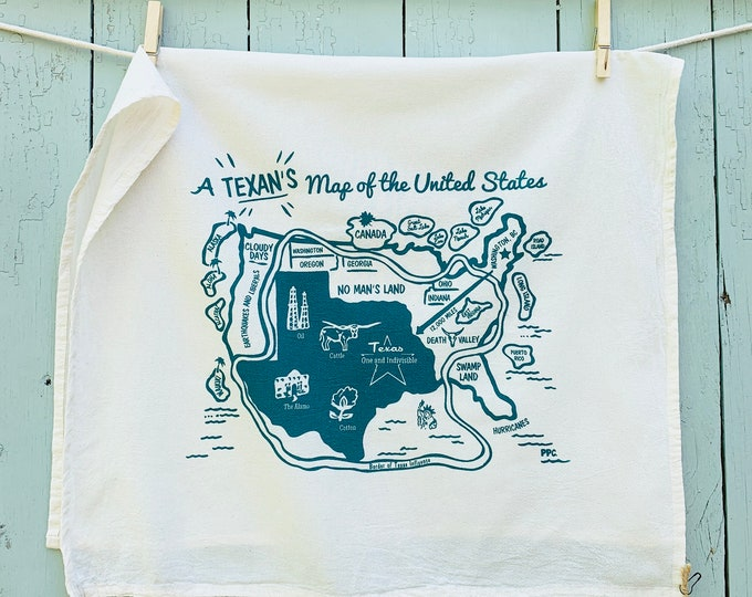 New! A Texan's Map of the US, Hand Printed Texas Tea Towel, Retro Style