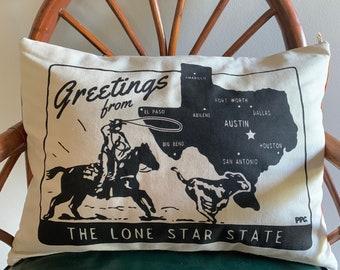 Lone Star Lumbar Pillow - Hand Printed and Sewn