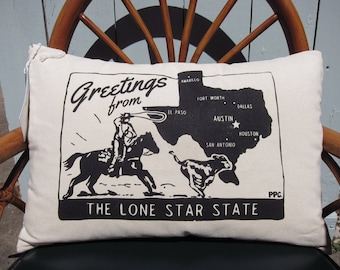 Throw Pillow - Made to Order. Greetings from the Lone Star State, Printed and Sewn by Hand