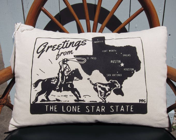 Texas Throw Pillow - Made to Order. Greetings from the Lone Star State, Printed and Sewn by Hand