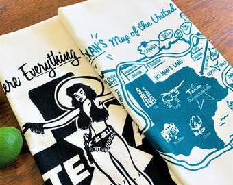 Tea Towels, Set of Two - Retro Style Texas, You Choose Your Combination!