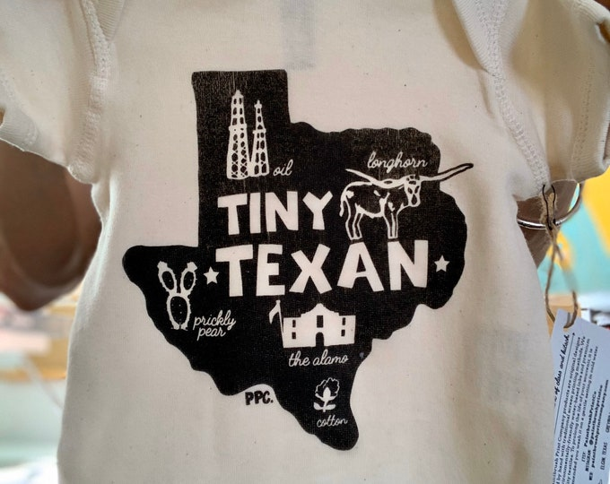 Featured listing image: The Tiny Texan - Black Ink on Oatmeal, Baby Romper/Onesie