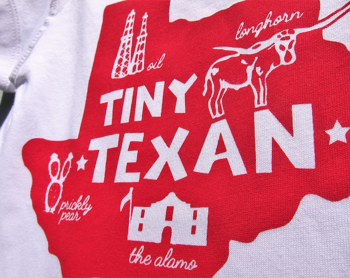 The Tiny Texan - Berry Pink on White, Baby Romper/Onesey