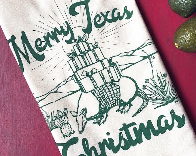 Merry Texas Christmas Armadillo Tea Towel