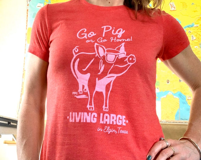Featured listing image: T-Shirt, Go Pig or Go Home! Women's Slim Fit, Pink Ink on Red