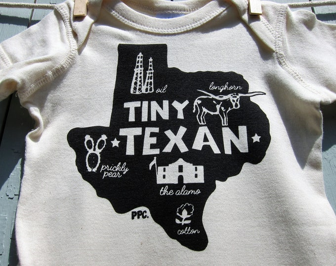 The Tiny Texan - Black Ink on Oatmeal, Baby Romper/Onesey