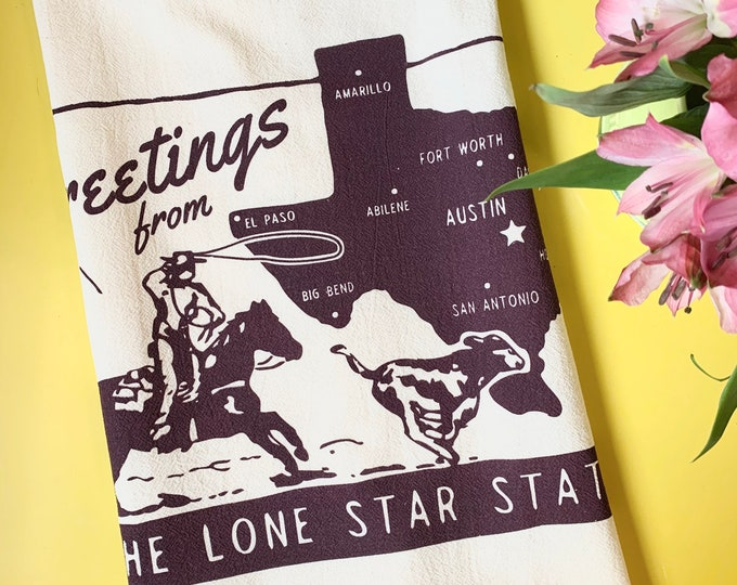 Greetings from the Lone Star State Tea Towel