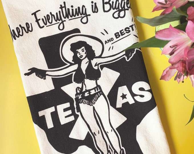 Where Everything's Biggest and Best Tea Towel