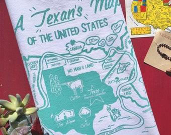 A Texan's Map of the US Tea Towel