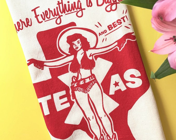 Where Everything's Biggest and Best Tea Towel  - Red