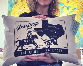 Greetings from Texas Throw Pillow - Made to Order