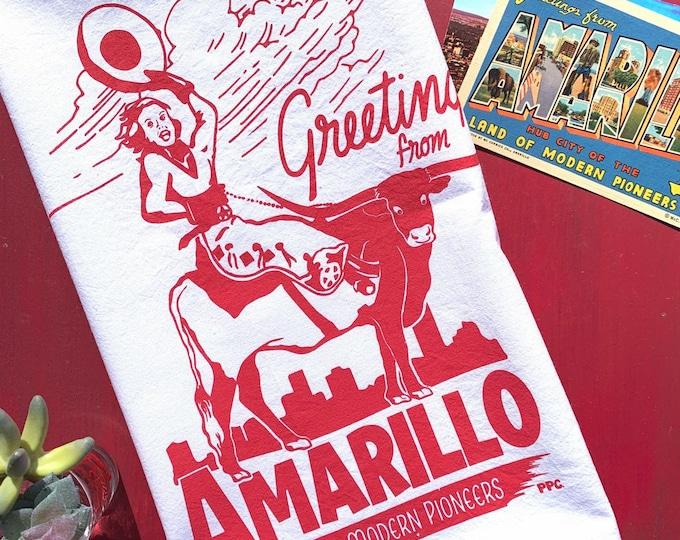 Greetings from Amarillo Tea Towel