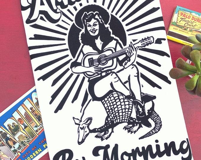 Armadillo by Morning Tea Towel - Black Ink