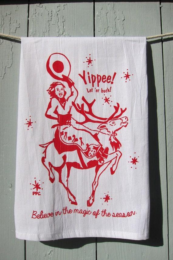 Cowgirl Christmas Tea Towel