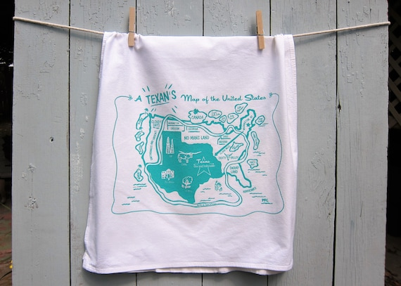A Texan's Map of the US - Texas Tea Towel - Hostess Gift Set of Three with Free Shipping