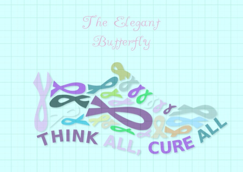 Think All Cure All Cancer Ribbon Tennis Shoe svg,dxf,png,eps,pdf,jpg,and  transparent png files,Cancer Awareness ribbon svg files,Think All