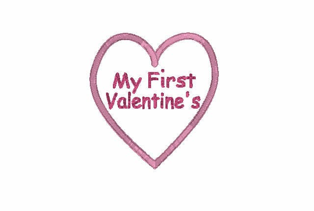 My First Valentine S Applique Embroidery Design Valentines Day