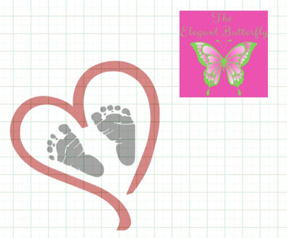 Comes With A Free Svg File Heart With Baby Footprints Etsy