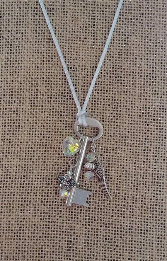 Sale! Skeleton Key Angel Necklace