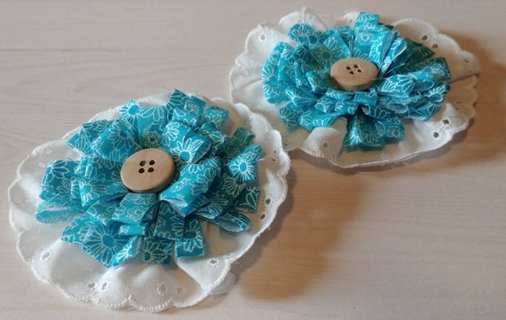 Blue Fabric and Lace Flowers Set of 2