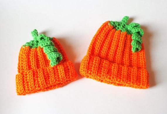 Crochet Pumpkin Hat - Pumpkin Hat - Halloween Hat - All Sizes - Free Shipping