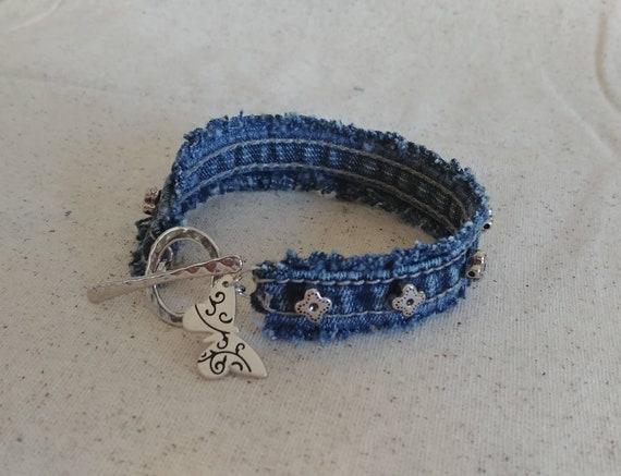 Upcycled Frayed Denim Bracelet