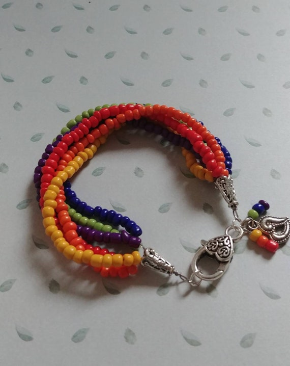 Rainbow Multistrand Beaded Bracelet