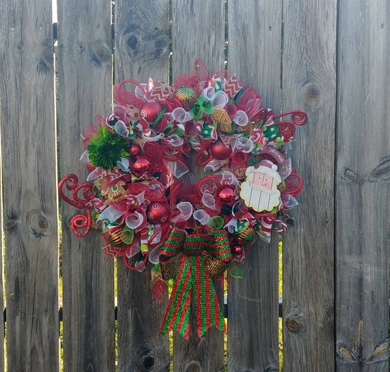 Christmas Wreath, Deco Mesh Wreath, Red and Green Wreath, Holiday Wreath, Santa Wreath, Christmas Decor, Holiday Decor, Free Shipping