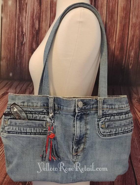 Upcycled Denim Tassle Shoulder Bag