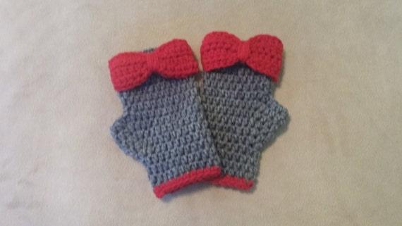 Scarlet and Gray Fingerless Gloves