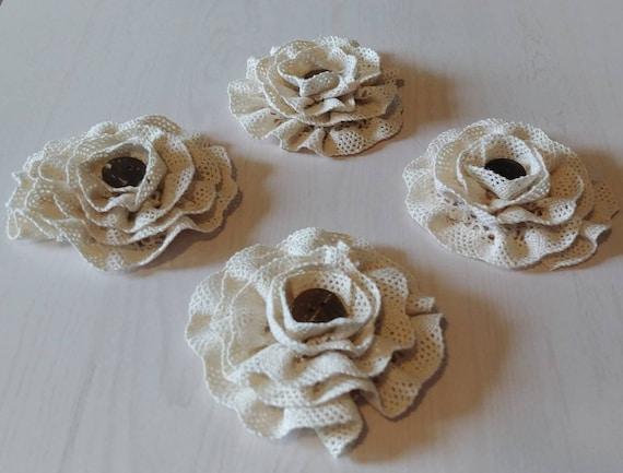 Antique Lace Flowers Set of 4