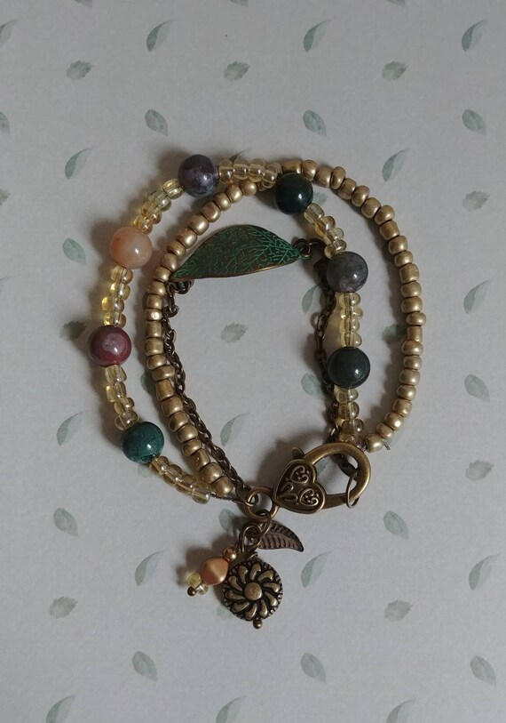 Multistrand Bead and Chain Bracelet