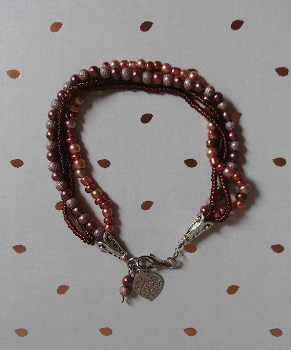 Copper Beaded Multistrand Bracelet