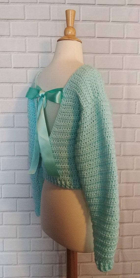 V Back Crop Sweater Crochet Pattern