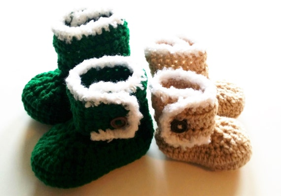 Infant Booties - Crocheted Booties - Crochet Ugg Style Baby Boots - 6 Colors to choose from.