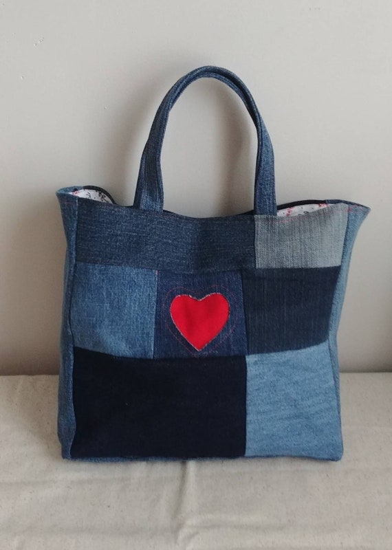 Patchwork Denim Heart Bag