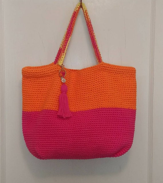 Pink and Orange Lined Cotton Tote