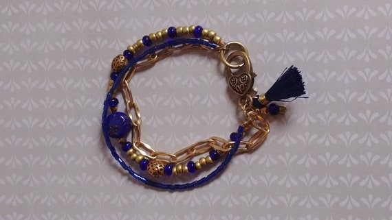 Blue and Gold Multi-strand Beaded Bracelet
